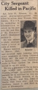1944 news clipping: City Segreant Killed in Pacific