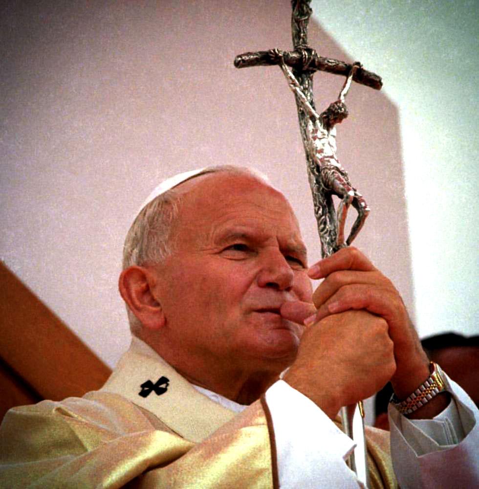 Pope John Paul II with crucifix